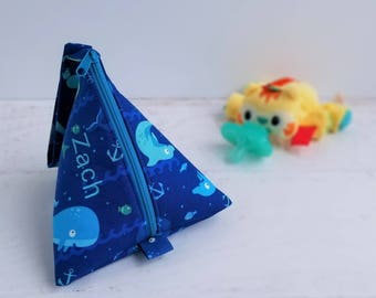 Baby Boy Pacifier Bag | Plush Pacifier Pouch | Pacifier Pod | Whale Baby Gifts | Triangle Bag | Pacifier Case | Whale Baby Shower Gift Boy
