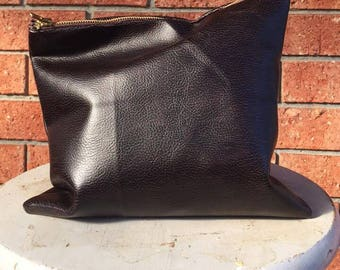"""UPCYCLED Large 9"""" Vegan FAUX Leather PLEATHER Suede Handmade Zipper Purse Pouch"""