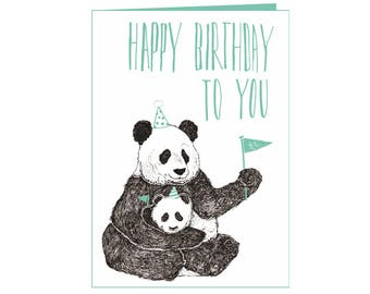 Funny Happy birthday card - panda with baby - Happy Birthday to you! - cute Little panda party - beautiful nature - humor - eco friendly