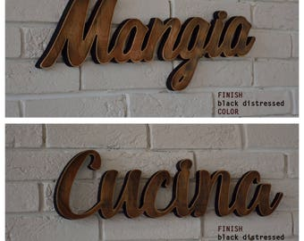 OFFER ! 15 % OFF Black distressed SET - Cucina and Mangia wooden signs home decoration, rustic style home decor.