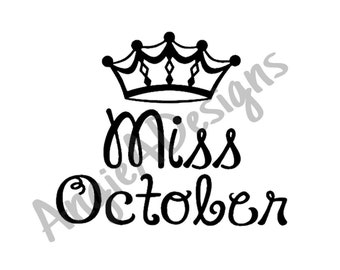 Miss October with Crown SVG
