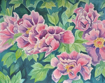 Original Watercolor Art - Flowers - 41cm X 31cm