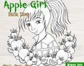 "Digital Stamp ""Apple Girl""- Black and White Digi Stamp for Mixed Media, Scrapbooking, Coloring, Art Journal, Card Making - Windy Iris"