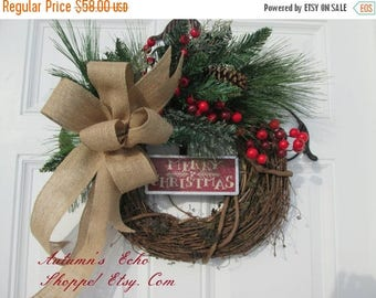 CHRISTMAS DOOR WREATH~Christmas Wreath~ Christmas Door Decor~ Rustic Christmas Wreath ~ Rustic Christmas Door Wreath ~Holiday Door Decor~