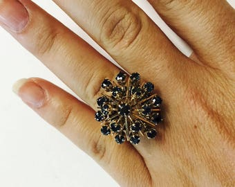 Fun Vintage Blue Sapphire Cluster ring! 14k