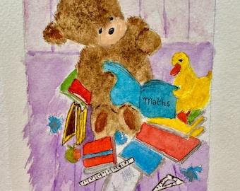Vintage English Watercolor. Three adorable Teddy Bear paintings.