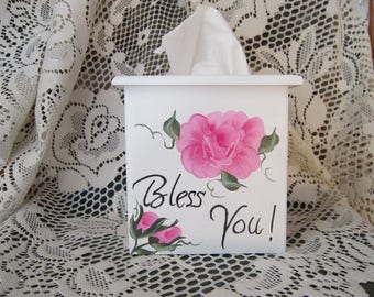 "FREE SHIPPING!!Handmade and Hand Painted Wood Tissue Box Holder.Bathroom Decor,Gift,Valentine""s Day,Teacher Gift,Only ships to the lower 48"
