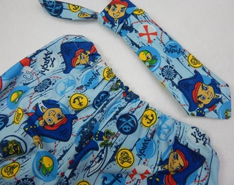 jake and the neverland pirates diaper cover or shorts with matching necktie----jake and the pirates cake smash---pirates birthday party