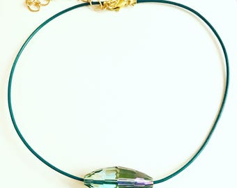 Brilliant: Adjustable, Faceted, Quartz Bead On A Leather Cord