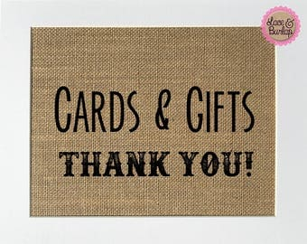 UNFRAMED Cards & Gifts Thank You! / Burlap Print Sign 5x7 8x10 / Rustic Country Shabby Wedding Engagement Sign Shower Birthday Party Decor