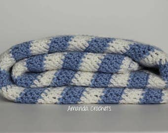 Chevron Baby Blanket | Light Blue Baby Blanket | Baby Boy Nursery | Baby Shower Gift | Bedding | Crochet Baby Blanket | Blankets & Throws