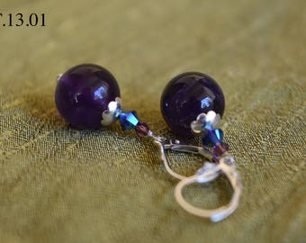 Round Amethyst with Sterling silver and Swarovski Accents