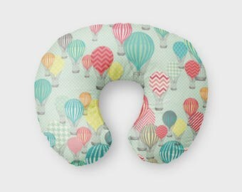 Nursing Pillow Cover Hot Air Balloon Aqua. Nursing Pillow Cover. Balloon Boppy Cover. Baby Bedding. Balloon Nursing Cover. Baby Shower Gift.