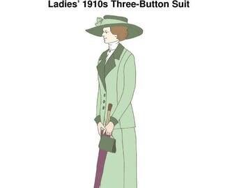 RH1052 dames '' 1910 trois bouton marche costume reconstituant l'histoire couture modèle réduit à clair des années 1910 Mesdames costume