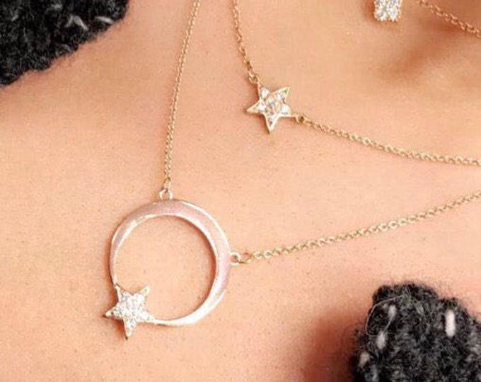 Moon and Diamond Star necklace in 14k Gold
