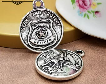 Police Badge Charms, Saint Michael Badge Charm, Archangel Medal Patron of Police, Badge Charms, 1 / 5 pc, Jewelry Finding, Occupation CTSM34