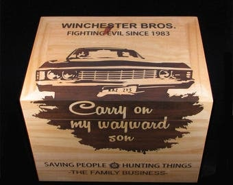 Wooden chest, wood box, demon trap, storage, keepsake box
