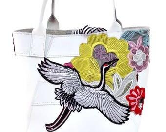 Mini A-Line Tote Bag in White Crane Flower