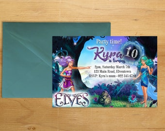 Lego Elves Birthday Invitation Digital Printable 5x7 Party Girls Boys Glitter Invite Personalized DIY Custom