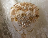 Reserved for Ariana,  Balance on Custom Gold & Ivory Brooch Bouquet