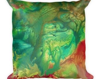 "Exclusive Original Design by Aditi-Kali=""Fearie Green"" Square Pillow"