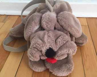 Vintage 1980s Wrinkles Stuffed Plush Dog Shoulder Bag Purse!