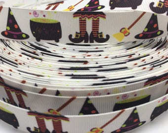 3 yards Halloween Fall Autumn Witch Broomstick grosgrain ribbon