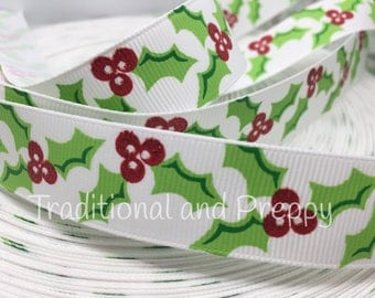 "3 yards 7/8"" Christmas Glitter Holly and Berry Grosgraon ribbon"