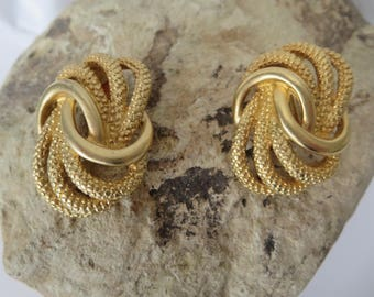 Vintage Twisted Rope gold-tone clip-on Earrings