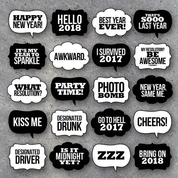 new year s eve talk bubbles photo booth props collection printable