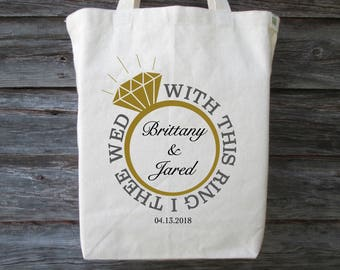 wedding tote wedding ring tote with this ring i thee wed personalized wedding - With This Ring I Thee Wed