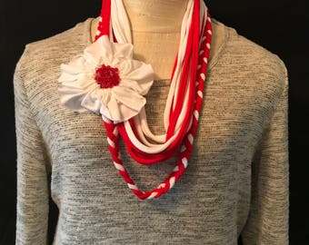 T-Shirt Scarf- White & Red w/ White Flower