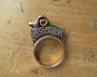 Vintage Chinese Export Goat Ram Sheep Filigree Enamel Gilt Ring Unusual Ornate Asian Jewelry