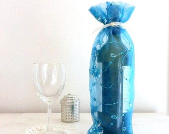 Wine Bag French Blue Translucent Fabric Sequins Embroidered Blue WhiteFlowers Bottle Bag Party Bag Gift Bag Hostess Gift Chic Sophisticated