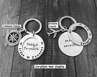 KEY CHAIN - Personalized  Metal Washer, Disc, & Airplane Charm - Children/Grandchildren Names, Grandpa's-Daddy's-Papa's-Mommy's co-pilots