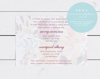 Floral Wedding Accommodation Insert Card, Printed OR Printable 5.5X4 Wedding Accommodation Card, Georgia Peach