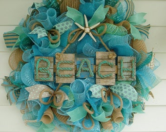 Beach Wreath, Deco Mesh Wreath, Summer Wreath