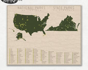 NATIONAL and STATE PARK Map of Virginia and the United States, Fine Art Photographic Print for the home decor.