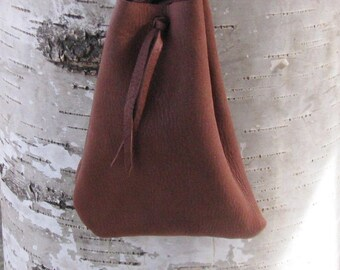 """Deer Leather Medicine Bag / 5"""" high x 4"""" wide / Mahogany / William Lattie Cherokee Certificate of Authenticity FREE US SHIPPING"""