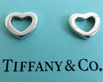 Authentic Tiffany & Co. Sterling Silver 925 Stencil Heart Pierced Earrings