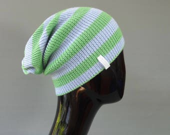 Beanie hat made from fine Italian Merino Wool in candy stripes