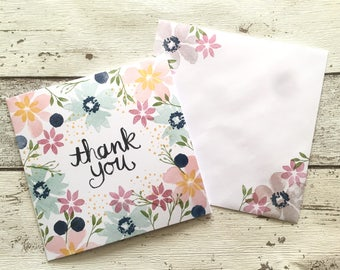 Handmade & Hand Stamped Floral 'Thank You' Card with Envelope Blank