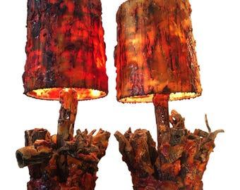 Vintage Waxed Cholla Wood Lamps - A Pair