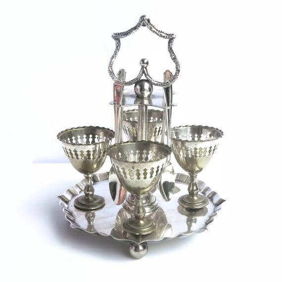 Antique silver plated boiled egg cruet set, 4 egg cups and 5 spoons, made in Sheffield, England, Gothic Victorian, 1800s