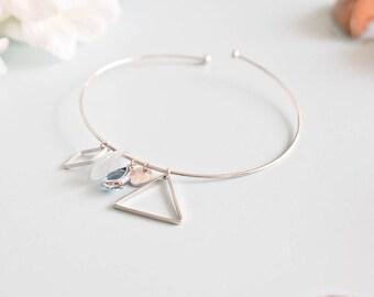 """bracelet size unique """"Louise"""" blue silver plated"""