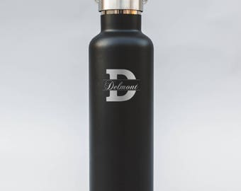 Cursive Name on Modern Initial Engraved Water Bottle | Double-Insulated Water Bottle | Elemental Bottles | 25 oz. with Bamboo Cap