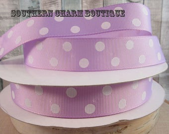 "3 yards 7/8"" lavender/white polka dot grosgrain  ribbon"