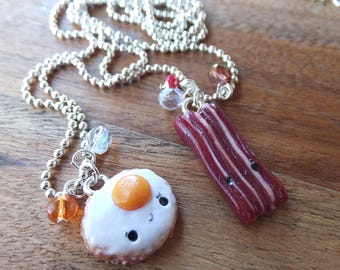 Bacon and Egg Best Friend Necklace Pendants charms made from polymer clay - bff - bestie - red pink orange white - silver.