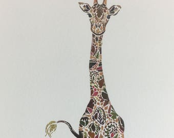STUDIO SALE Giraffe Giclée Print With Gold Finishing (listing 2)