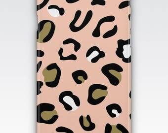 Case for iPhone 8, iPhone 6s,  iPhone 6 Plus,  iPhone 5s,  iPhone SE,  iPhone 5c,  iPhone 7 - Pink, White, Black & Gold Leopard Print Case